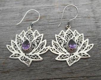 Sterling silver amethyst gemstones  dangle earrings / silver 925  / 1.75 inch long