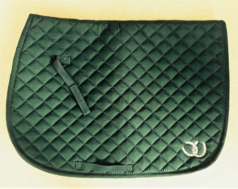 English All Purpose Saddle Pad-Hunter Green-Machine Embroiderd Horseshoes-Personalized