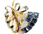 Mazer Sapphire and Ice Crystal Retro Floral Brooch