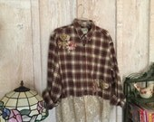 Altered, plaid flannel shirt, plaid, lace, farm chic, shabby chic, embellished, recycled