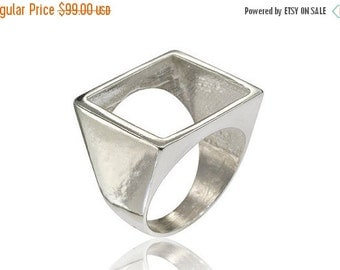 On Sale Geometric Ring, Square Ring, Open Square ring, Geometric Square Ring, Designer Jewelry, Gifts for Her, Geometric Jewelry, Free Shipp