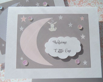 Welcome Baby Card - Baby Shower Card - Welcome New Baby Card - Baby Girl Card - Baby Boy Card - Bunny Card - Moon - mbc1