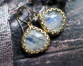 Moonstone Earrings | Rainbow Moonstone Heart Drops | Floral Bezel Set | Gold Plated | 14k Gold Filled Dangles | Smooth Drops | Ready to Ship