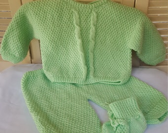 Child Size 10 Months Unisex Hand Knitted 3pc Outfit/Set / Infant Boy Or Girl/ Mint Green Sweater/ Pants/ Booties/Handmade Baby Clothing