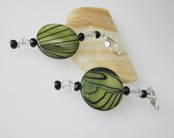 Shell Earrings, Beaded Dangle, Seaweed Green and Black Mother of Pearl, Shell and Crystal, Anniversary Gift, Gift For Her