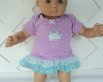 Bitty Baby Girl cute 3 pc. lavender ruffled  dress with  Socks and a headband     doll clothes