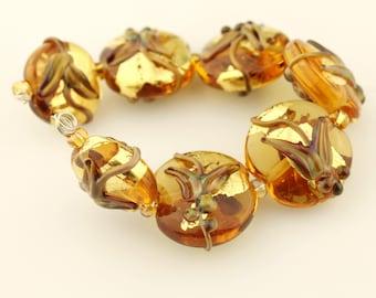 Lampwork Glass Bead Set, Topaz, Amber with Gold Leaf, Lentil Beads