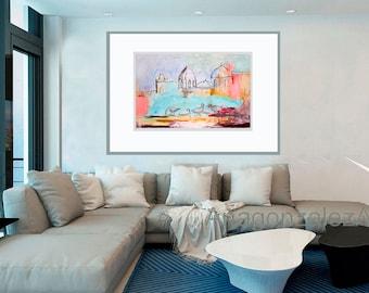 Fine Art Print, Landscape Print Giclee Art, blue pink gray, turquoise, swans decor modern, wall art, by Ana Gonzalez