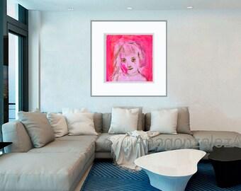 Art Print download, digital Print, Printable download, digital 300 DPI JPG pink red green, instant download Spanish Art