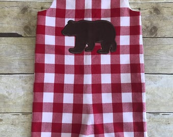 Gingham check shortall with an applique of your choice.
