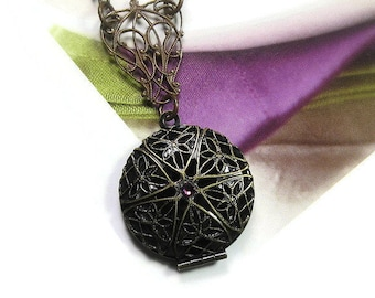 Victorian Style Locket Necklace, Vintaj Brass Pendant Necklace, Lilac Olive Green, Edwardian Style, Womens Gifts, Romantic Antique Style