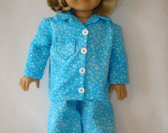 """18 inch doll clothes/Bunches of Hearts/Flannel pajamas and slippers/READY TO SHIP/4piece set fits 18"""" doll like American Girl"""