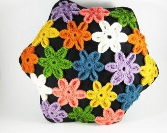Vintage Colorful Crochet Pillow, Vintage Handmade Cushion