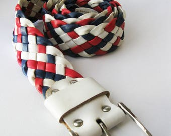 Vintage Woven Belt, Braided Red, White and Blue Leather