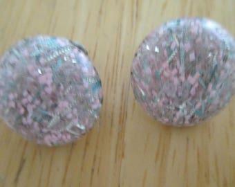Vintage costume jewelry  confettie clip on earrings