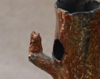 Sale. Ceramic OWL Vase.  BIRD NEST. Hand Built Black Stoneware Vase.  Nature Inspired Tree Vase. Ceramic Pottery. Handbuilt Ceramics.