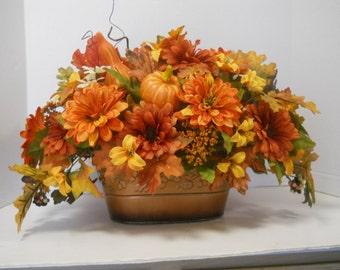 Fall Silk Flower Arrangement, Floral Table Centerpiece