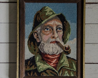 Vintage 1970's Framed Needlepoint Picture of Fisherman Kitsche