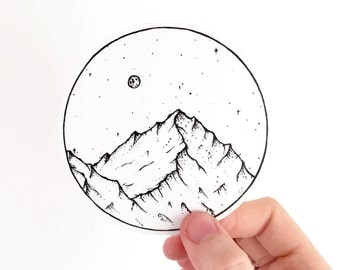 Vinyl Sticker . Mountain and Moon . Hiking Gear Outdoors Laptop MacBook Sticker Camping Sticker Adventure Car Decal Mountain Bumper Sticker