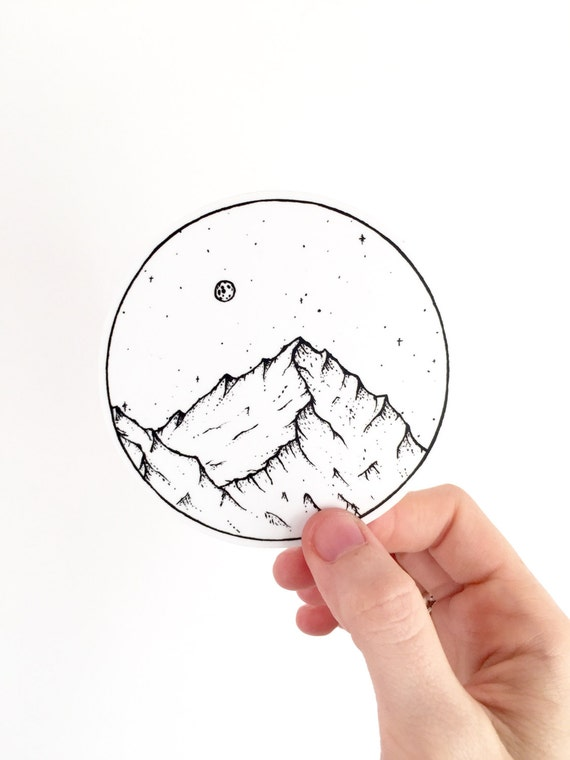 Vinyl Sticker Mountain And Moon Hiking Gear Outdoors