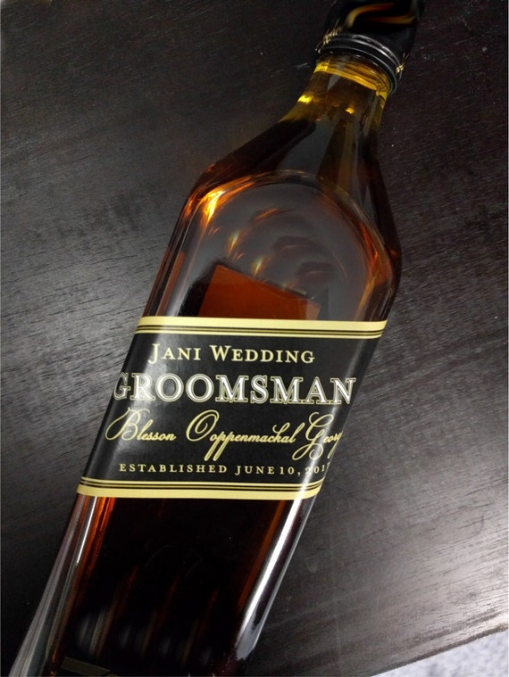 Liquor flask label wedding groomsman liquor bottle for Groomsman liquor bottle labels