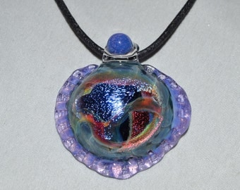 Trippy Boro Glass Dichro Pendant - Lampwork Jewelry - Handblown Glass Necklace