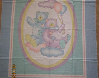 TEDDY BEARS and BALLOONS Cheater Quilt Fabric Panel for Baby Nursery