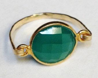 Green Onyx Ring   Green Onyx Gemstone Ring  14K Gold Filled Ring