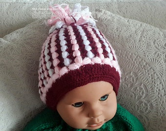 Crochet Baby Hat Pattern, Crocheted Hat, Crochet Tutorial, Free Form Pom Pom Hat Pattern, Toddler Hat Pattern, Crochet Hat, Puff Stitch Hat