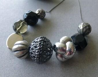 Vintage Lucite + Glass Bead Necklace // Silver // Gunmetal // Black // Minimal