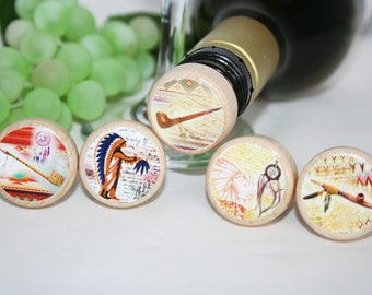 Indian Themed Wine Stopper,  Smoke Pipe, Dream Catcher, Indian Gift, Wedding Favor, Wine Lover Gift, Wine Gift,  Wine Stopper Favor