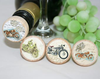 Motorcycle Wine Stoppers, Motorcycle Gift, Motorcycle  Personalized Stopper, Biker Wood Cork Stopper, Manly Gift, Motorcycle Club, Stem Punk