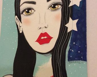 Model with StarsOriginal Artwork on Matte Board