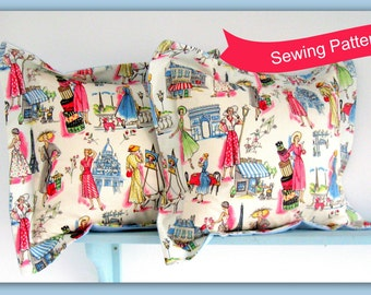 Oxford Style Pillow Cover Sewing Pattern by Lillyblossom. Easy beginners project. Very quick to make.