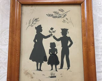 Antique Silhouette of lady and solider and girl