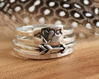 Arrow Stacking Ring Set - Sterling Silver - Heart Arrow Rings -  Arrow Stackable Ring - Valentine's Day Gifts