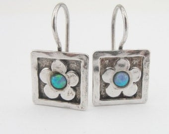 Square Opal Earrings, Blue Stone Earrings, 925 sterling silver opal earrings, Flower Earrings , Opal Jewelry, Romantic gift, valentines day