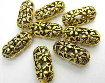 8 Antique Gold beads oval carved hallow openwork filigree beads gold bead supply 22m x 10mm focal beads HP492(X3),