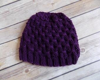 Purple Knit Hat, 6-12 month Knit Beanie, Winter Hat for Girls