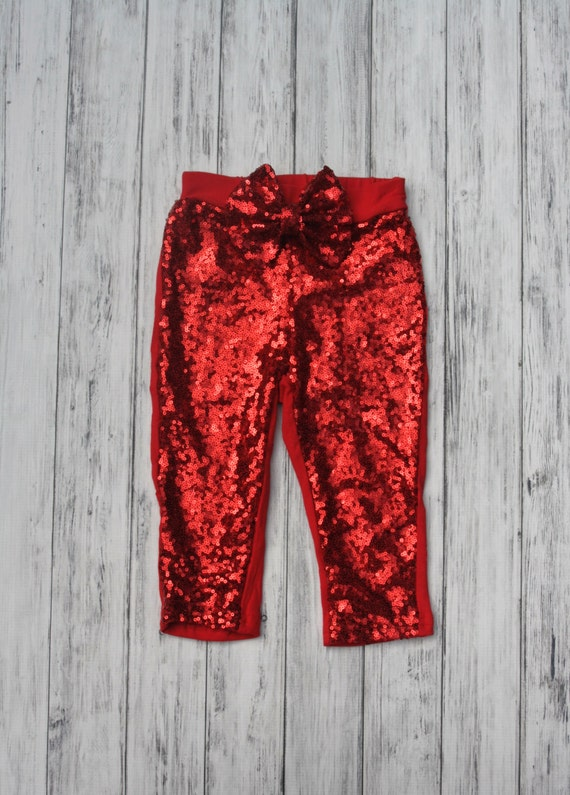 Like this item? - Red Sequin Leggings W/ Sequins Messy Bow Gold Sparkle Pants