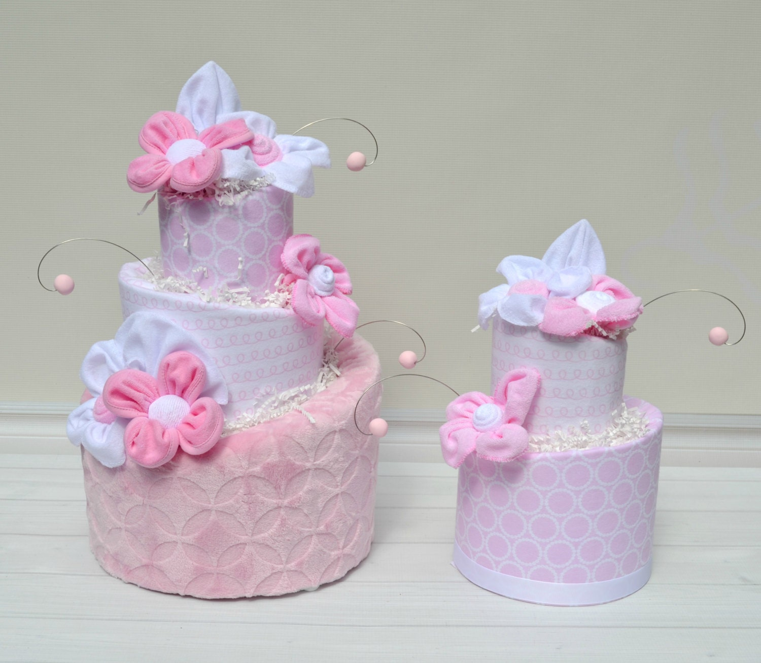 Baby Diaper Cake Decoration : Pink Diaper Cake, White and Pink Baby Shower, Diaper Cake ...
