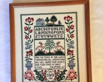Vintage Cross Stitch Sampler - Philippians 4:7