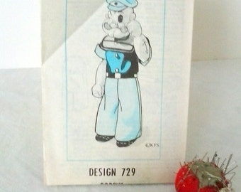 "Popeye rag doll pattern  Unused Uncut Factory fold   16"" doll   Vintage pattern  Removable clothes"