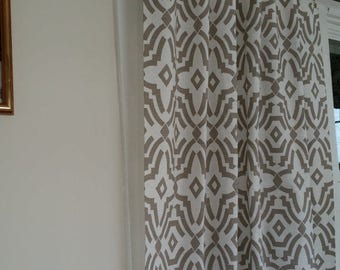 """Fabric shower curtain, chevelle trellis, ecru taupe and white, cotton print, 72"""", 84"""", 90"""", 96"""", 108"""" custom sizes available"""