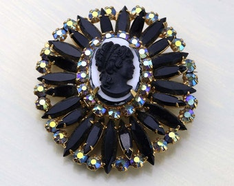 Vintage Juliana Cameo Brooch, DeLizza and Elster Crystal Pin and Pendant, Black and White Cameo, Aurora Borealis Crystals, 1960s