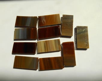 """50 Pieces 1/2"""" x 1"""" Tan and Brown Mix Opaque Stained Glass Mosaic Border Tiles Hand cut"""