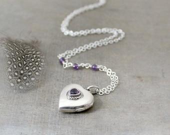Modern Locket Necklace, February Birthstone Locket, Sterling Silver Locket Pendant, Amethyst Locket, Push Present, Silver Heart Locket