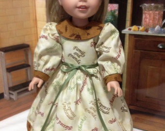 "WW Thanksgiving ""Seasons Blessings"" dress and cute shoes for American girl Wellie Wishers doll"