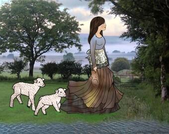Spring lambs, baby animals, nursery decor, Irish dining room, Irish farm art, County Antrim, country home, baby sheep, Irish Mothers Day