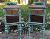 Pair Antique Nightstands Reserved MSixDesign Custom finish paint included